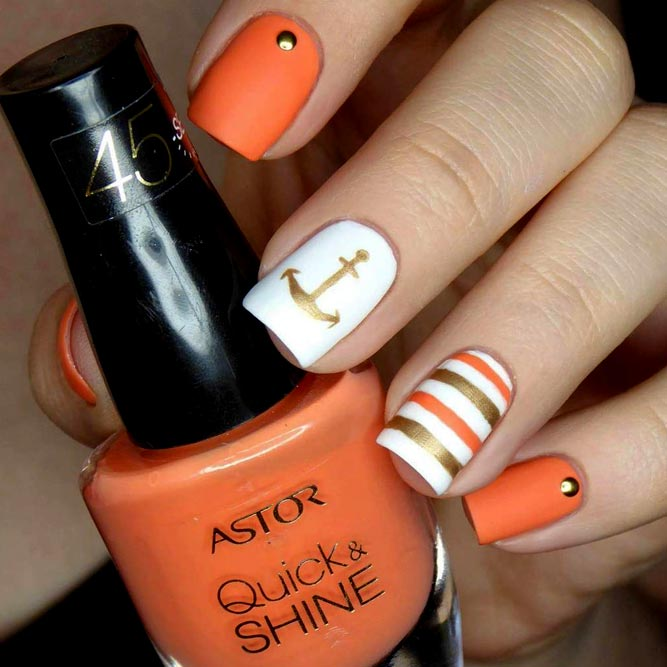 Summer Matte Orange Nails