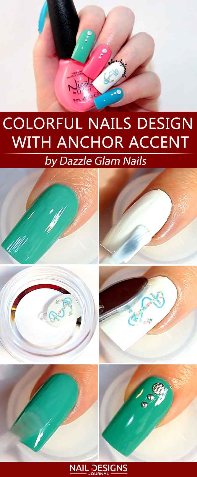 Colorful Nails Tutorial With Anchor Accent #anchornails #summernails