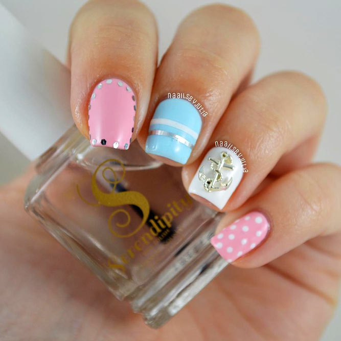 Pastel Nails Design With 3D Anchor