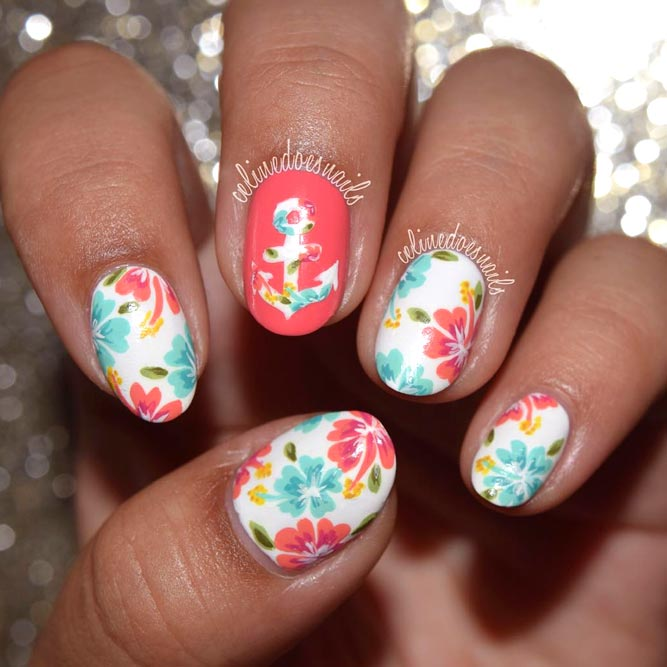 Summer Anchor Nails With Tropical Flowers