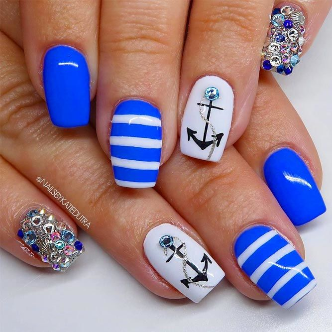 Anchor Nail Art With Stones Accent