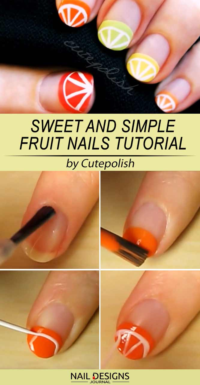 Simple Citrus Fruits Nails Tutorial With Negative Space