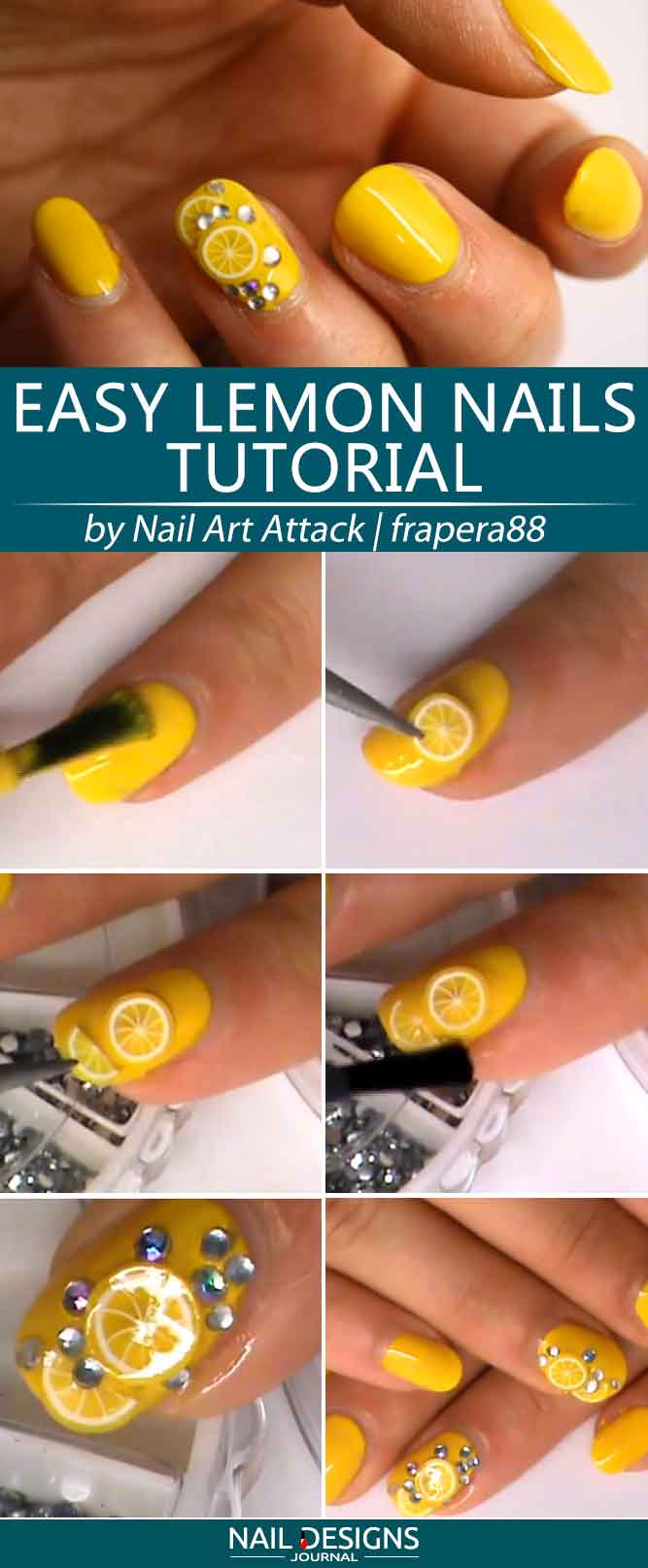 Super Easy Lemon Nails Tutorial #yellownails #fruitsnails #citrusnails