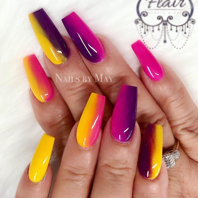 Vertical Pink And Yellow Ombre Nails