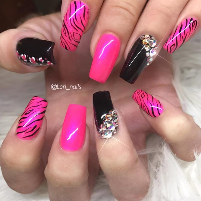 Pink Zebra Print Nails For Really Bold Ladies #pinkandblacknails #stripednails #squarenails #longnails #rhinestonesnails