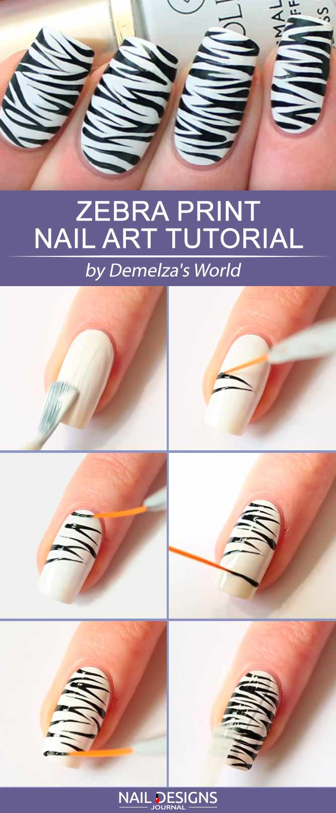 Step By Step Tutorial How To Paint Zebra Print On Your Nails #blackandwhitenails #stripesnails #squarenails #nailtutorial #diynails