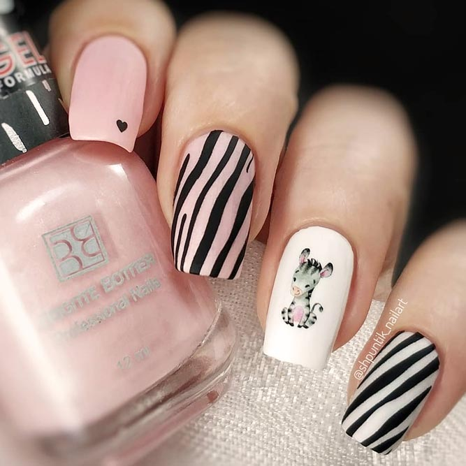 Sweet Soft Pink Nails Decorated With Zebra Print #squarenails #longnails #pinknails #decalnails