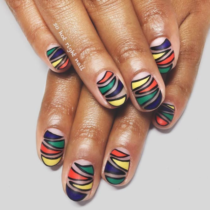 Colorful Idea For Zebra Print Nail Art #colorfulnails #stripednails #roundednails #shortnails #mattenails