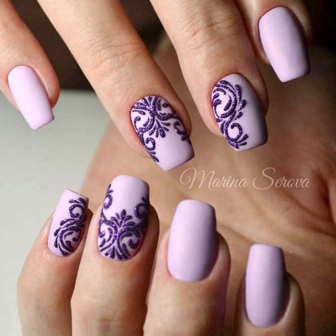 Win Win Mix Of Purple Damask And Delicate Lavender Shade #mediumnails #squoval #purplenails #mattenails