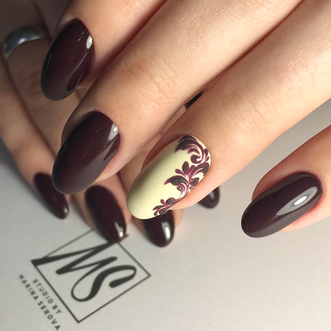 Royal Burgundy Shade In Combination With Damask Print #longnails #ovalnails #burgundynails
