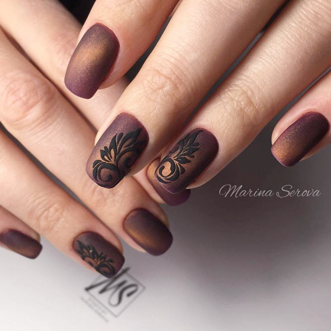 Marvelous Matte Manicure With Damask Accents #mediumnails #squarenails #mattenails #brownnails #cateyenails