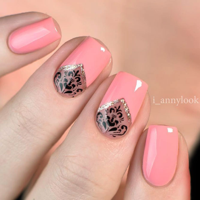 Sweet Pink Negative Space Mani With Damask Accent #shortnails #squarenails #pinknails #negativespacenails