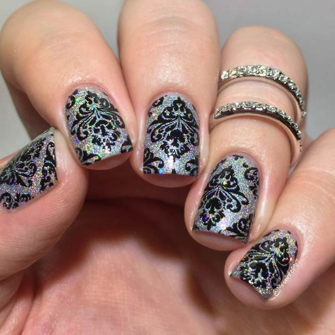 Damask Nail Art On Holo Base #holographicnails #shortnails #squarenails #metallicnails