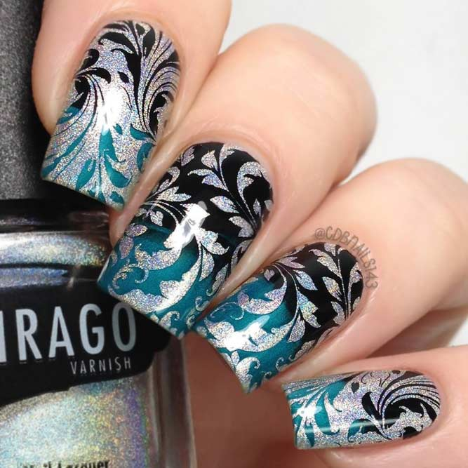 Metallic Damask And Trendy Ombre Nail Design #longnails #squarenails #ombrenails #bluenails #silvernails