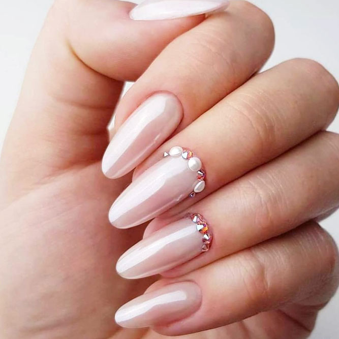 What Are The Pros And Cons Of Having Fake Nails #ovalnails #longnails #nudenails #rhinestonesnails