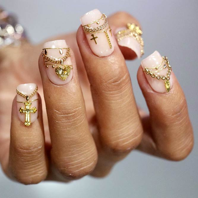 3D Metal Accessories Art On All Nails #nailstrend #jewelrynails #goldnails