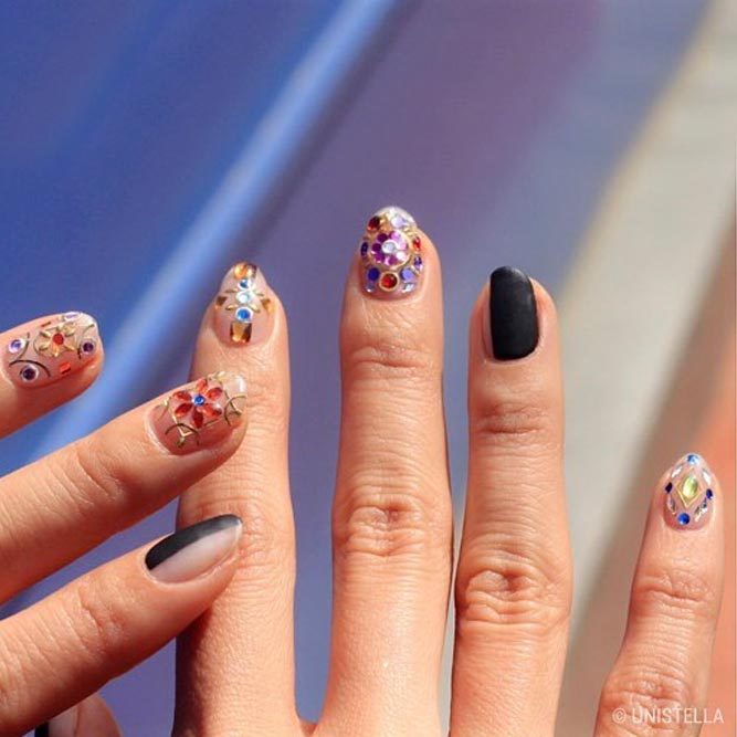 Sweet Colorful Rhinestone Nail Art #flowernails #colorfulnails #blacknails