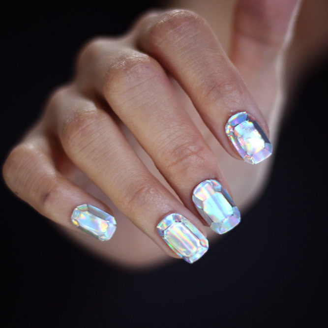 Diamond Nails Korean Art Style #shortnails #sparklenails #diamondnails