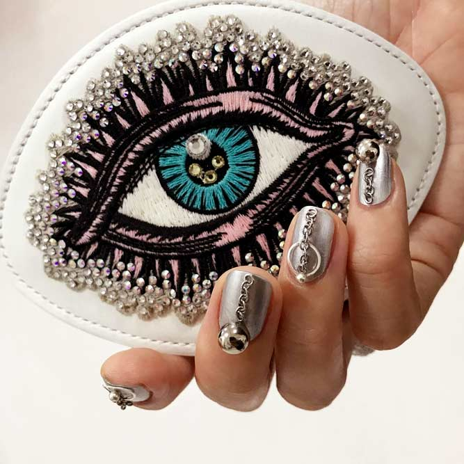 Korean Fashion Nail Art All In For Metal #jewelrynails #chromenails #metalnails