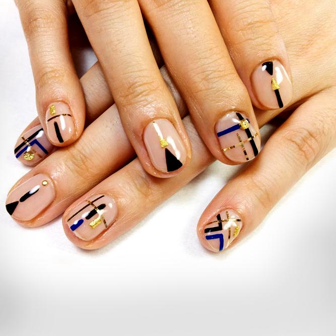 Unreal Nail Design With Negative Space #jewelrynails #stripednails #geometricnails