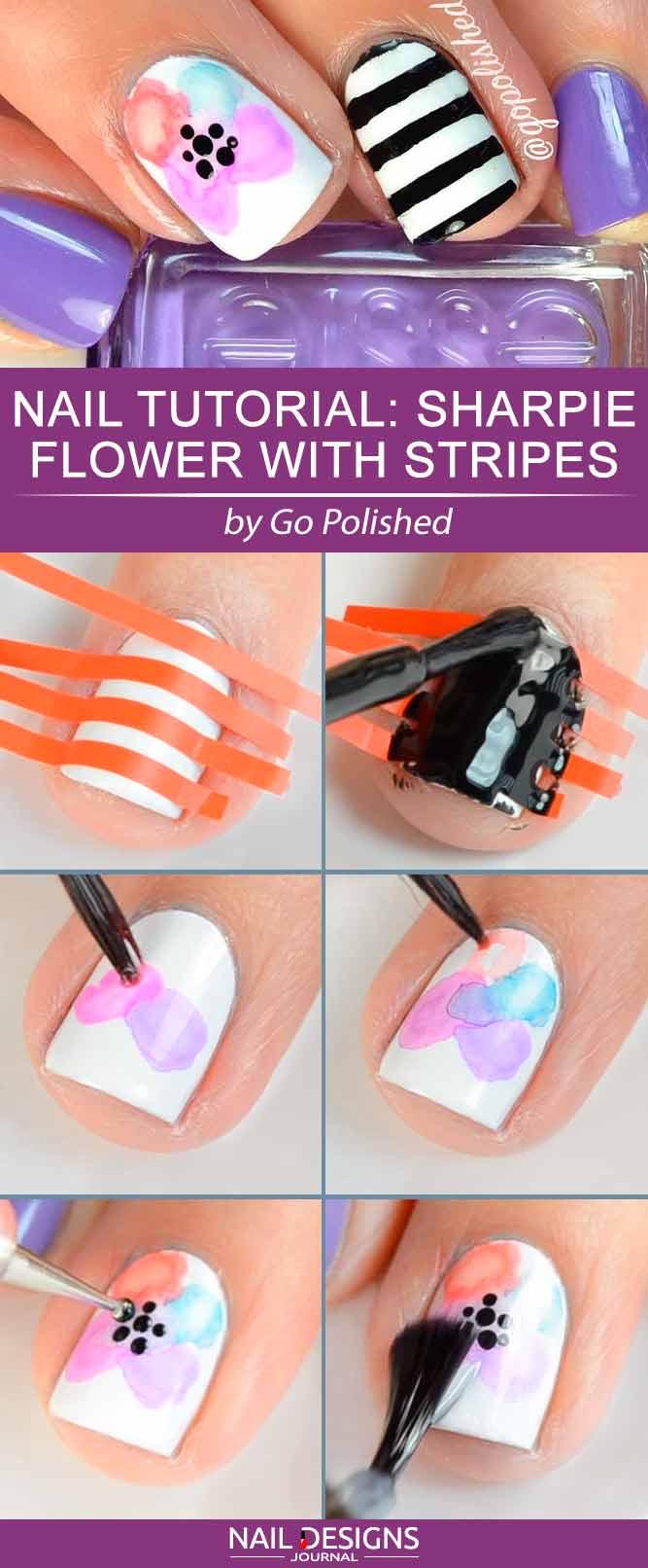 Nail Tutorial Süße Sharpie Blume mit Streifen