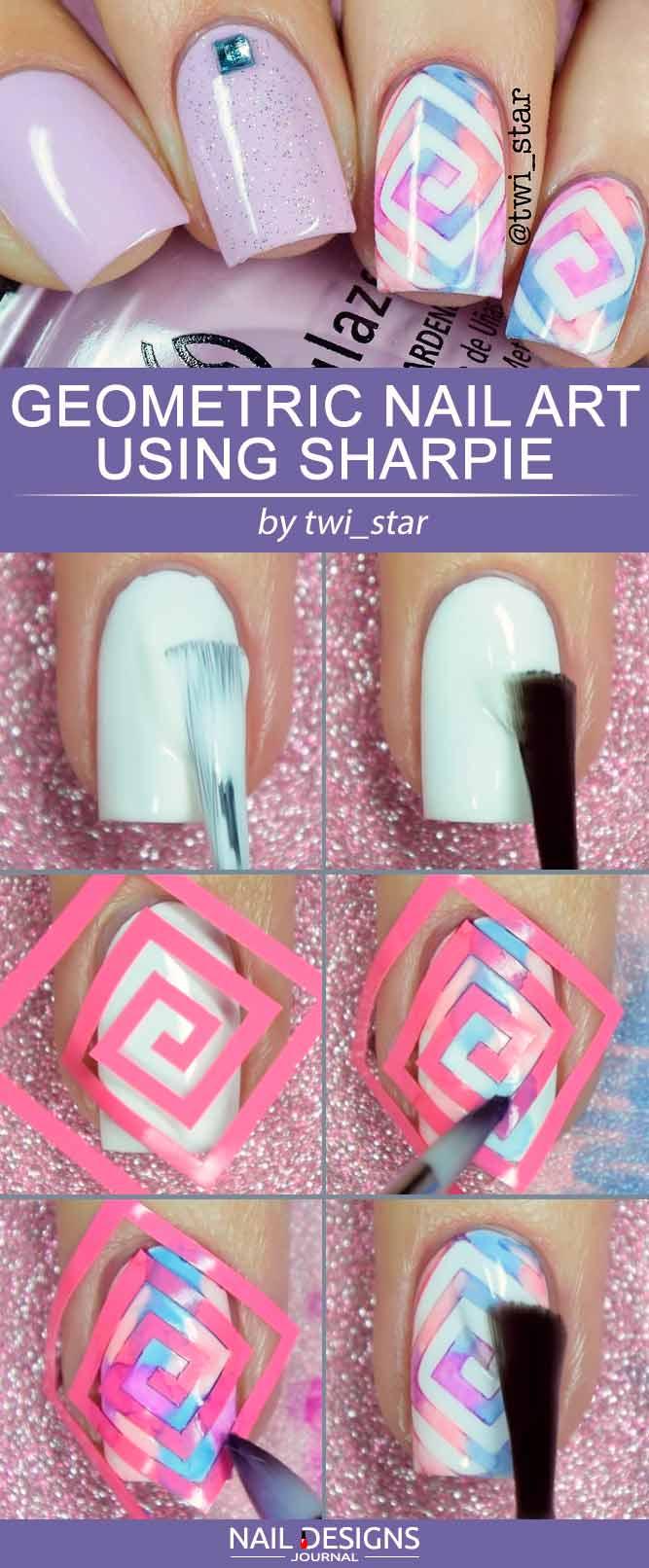 Geometrische Nail Art mit Sharpie # watercolornails #geometricnails #lilacnails