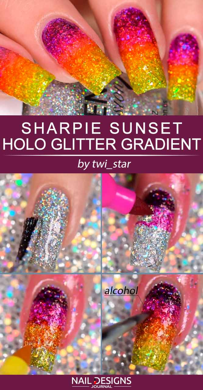 Easy DIY Sharpie Sunset Holo Glitter Gradient #ombrenails #glitternails #gradientnails #sunsetnails