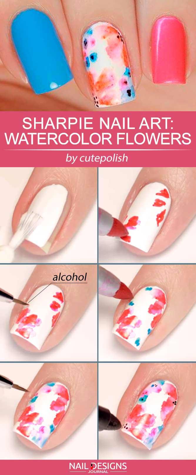 Sharpie Nail Art-Ideen Zarte Aquarell-Blumen