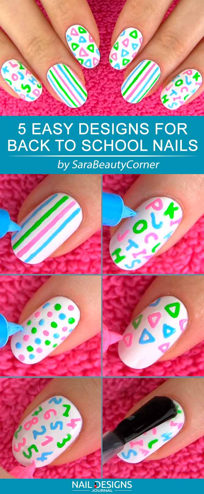 Easy Nail Designs For Back To School Nails #whitenails #dotsnails #stripesnails #schoolnails #backtoschoolnails