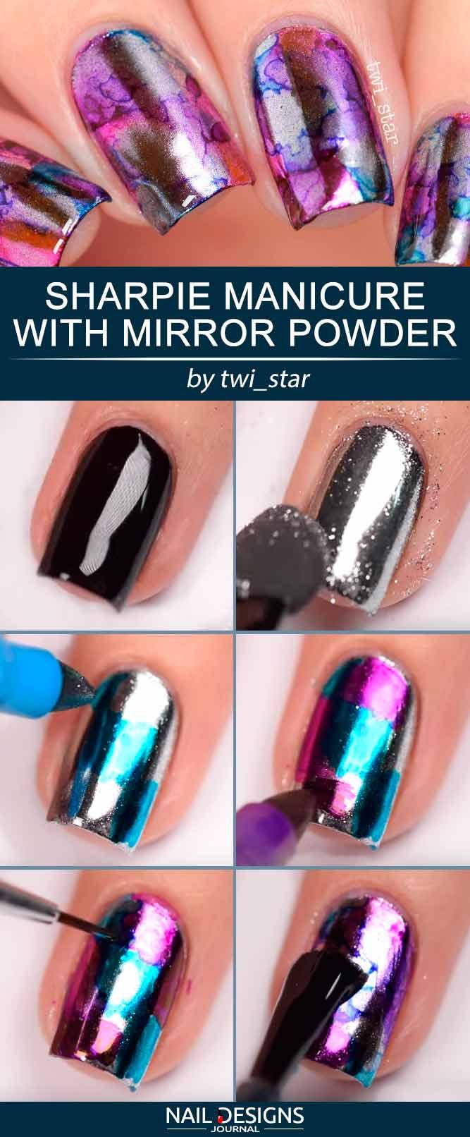 Sharpie Manicure With Mirror Powder #Aquarellnägel #Chromenägel #Mirrornägel