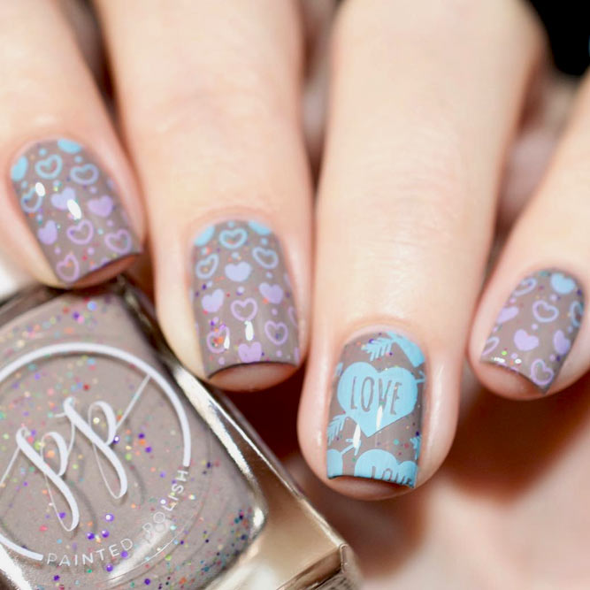Sweet Idea For Your Next Taupe Mani #shortnails #heartnails #nailstamping #stamping