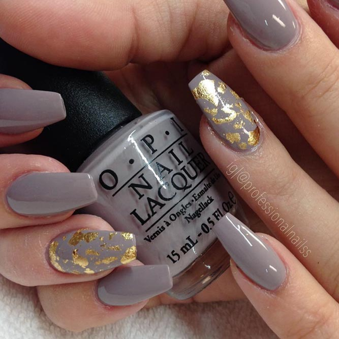 Taupe Color Nails With Gold Flakes #longtnails #coffinnails #foilednails