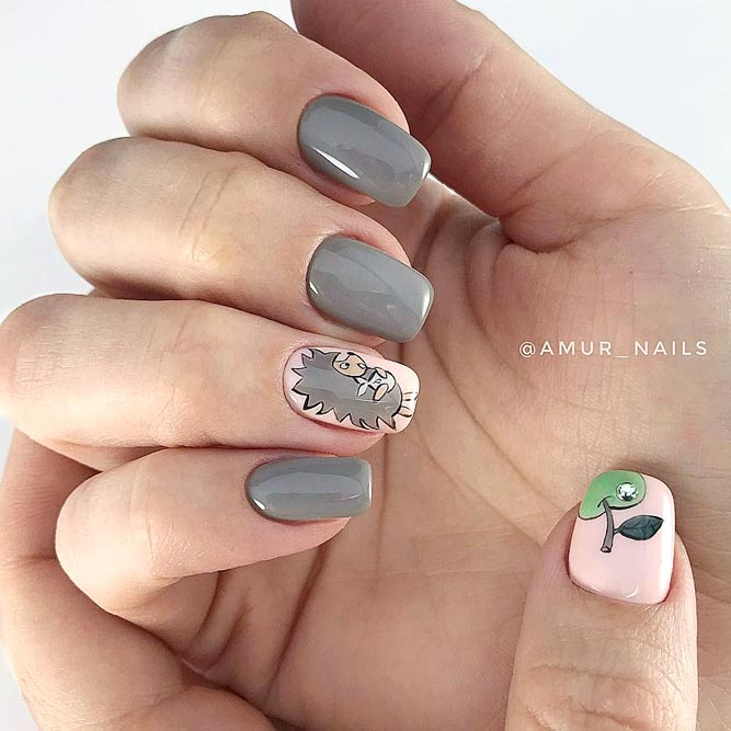 Fun Cartoon Taupe Color Nails #mediumnails #squoval #animalnails #cartoonnails