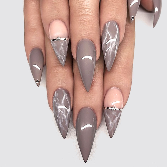 Trendy Marbled Nails In Royal Taupe Shade #longnails #stilettonails #longstiletto #marblenails