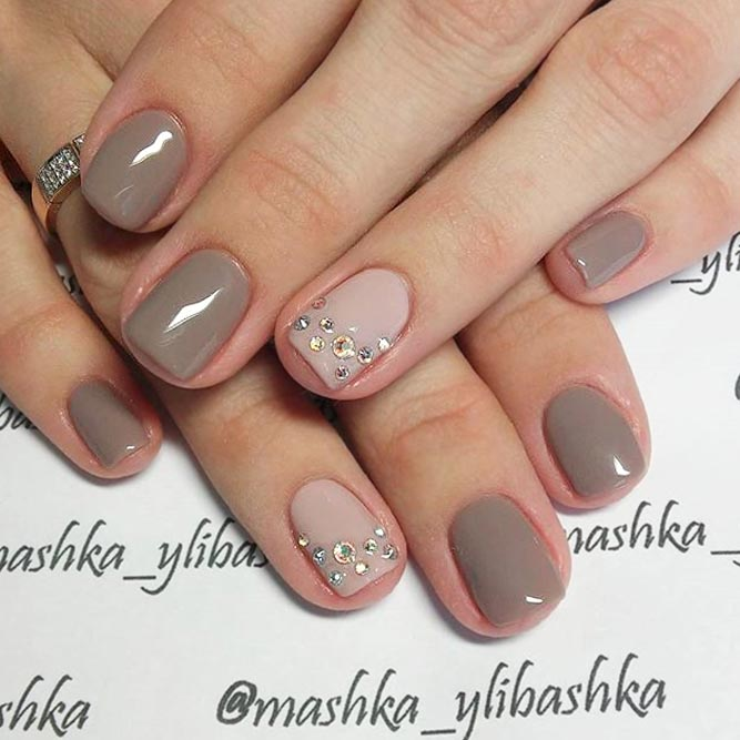 Taupe Nails With Delicate Crystal Accent #shortnails #rhinestonesnails