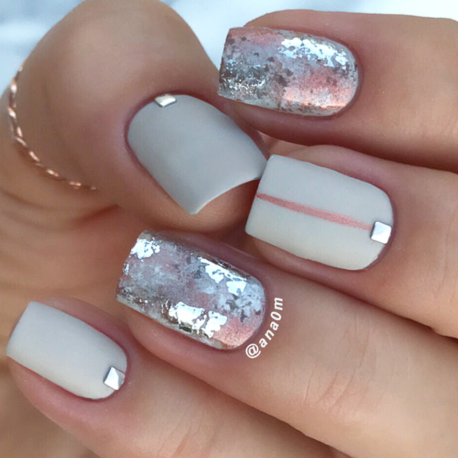 A Win-Win Combination Taupe Color And Silver Foil #shortnails #mattenails #foilednails