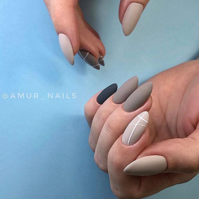 Matte Minimalistic Taupe Color Nails #longnails #mattenails #minimalisticnails