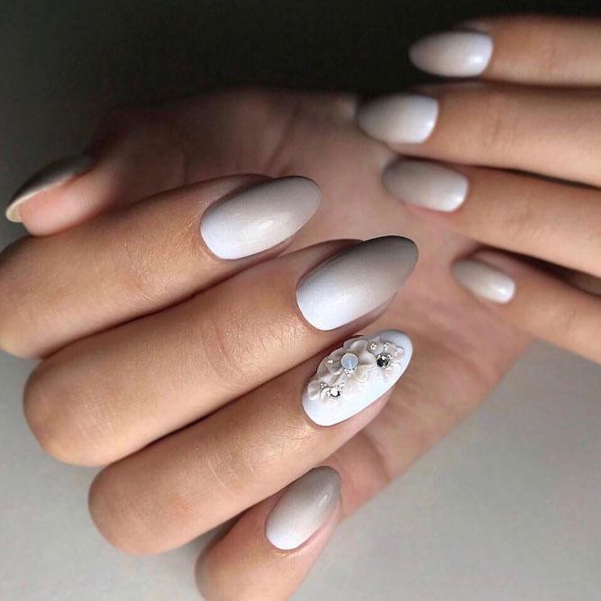 Adorable Taupe Mani With Floral Accent #longnails #mattenails #floralnails #flowernails