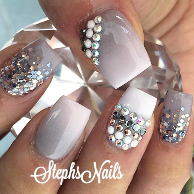 Fab Idea Taupe Ombre With Sparkle Elements #squarenails #glitternails #ombrenails #rhinestonesnails