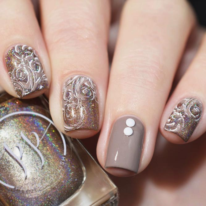 Intricate Stamping Design On Taupe Base #shortnails #holonails #nailstamping #stamping