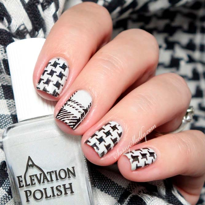 Plaid And Houndstooth Pattern Combo #squarenails #stampingnails