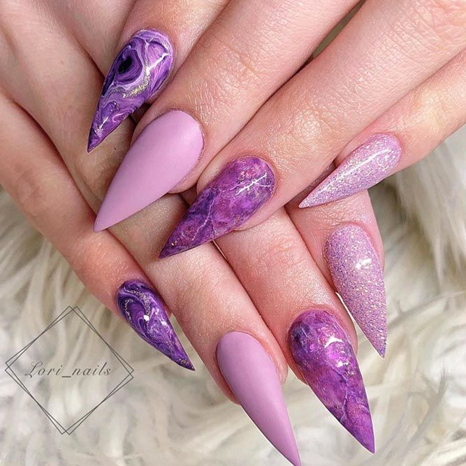 Purple And Marble Nails