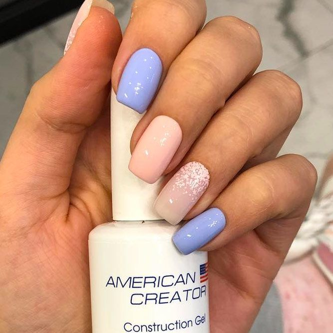 Two-Tone Mani With Pastel Colors