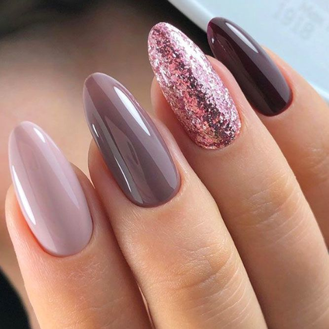 Light And Dark Taupe Shades Nails