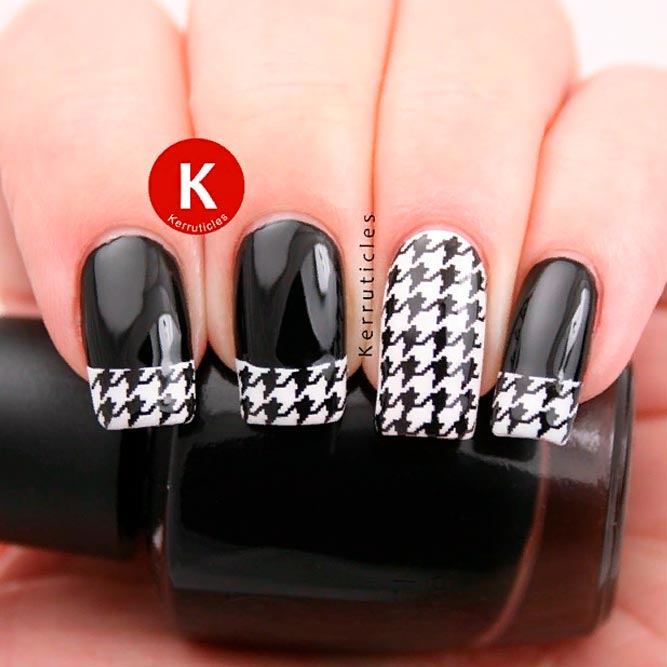 Houndstooth Tip Nails #frenchnails #blacknails