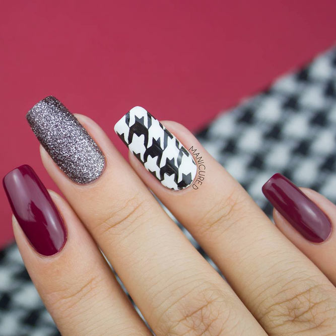 Burgundy Mani With A Houndstooth Accent #burgundynails #longnails #glitternails #stampingnails #squarenails