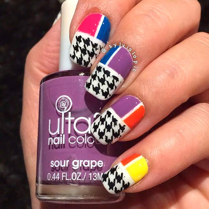 Colored Blocks And Houndstooth Nails #brightnails #colorednails
