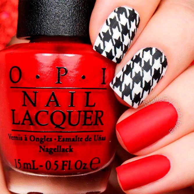 Matte Red Nails With Houndstooth Print #mattenails #rednails #shortnails