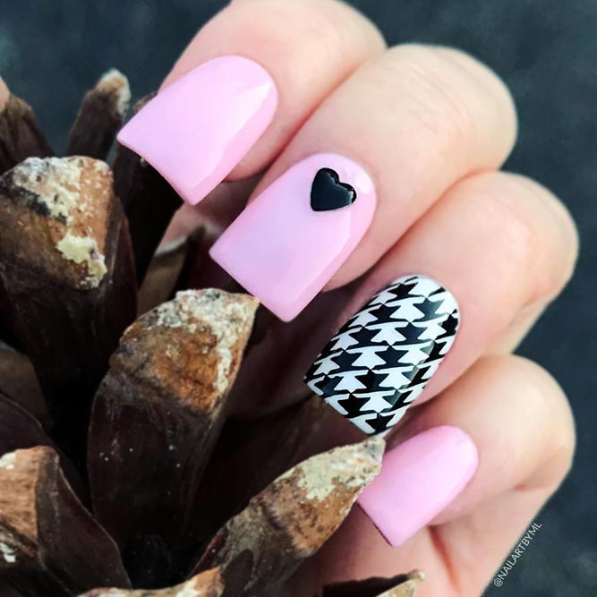 A Stunning Pink Manicure With A Houndstooth Accent #longnails #pinknails #squarenails #stampingnails