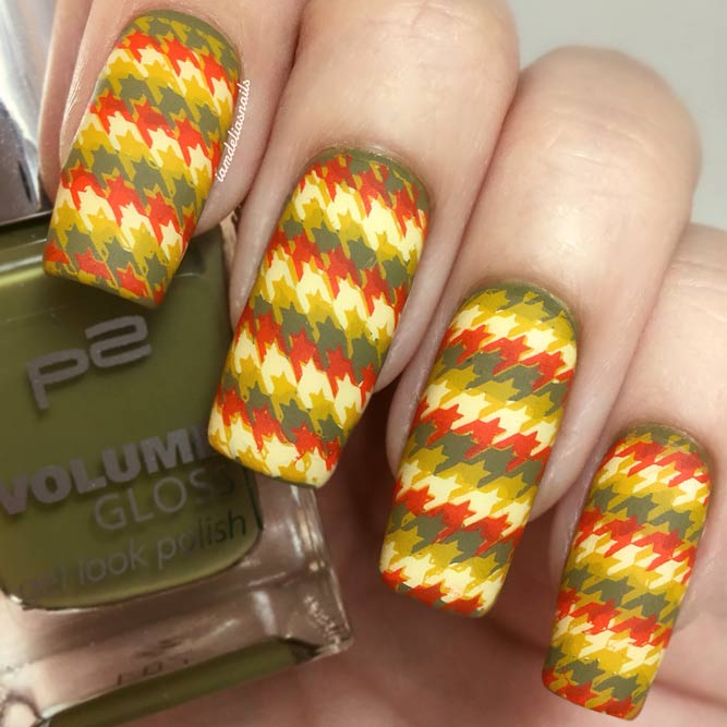 Houndstooth Pattern Nails In Fall Shades #longnails #mattenails #squarenails #stampingnails